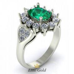 Золотое женское кольцо Inara с сердцами и камнями