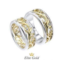 Золотые обручальные кольца Nicole с узорами и камнями