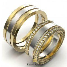 Золотые обручальные кольца Only Love с дорожками камней