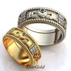 Кладдахские обручальные кольца Volente Deo с резными краями и узором по кругу