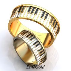 Фантазийные обручальные кольца Fortepiano с имитацией музыкального инструмента
