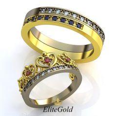 Авторские обручальные кольца Regina с женским в виде короны