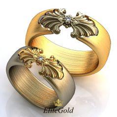 Обручальные кольца Convesso Duo с вставкой по центру
