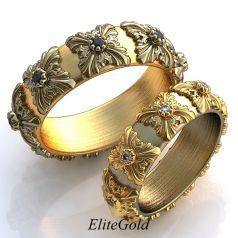 Роскошные обручальные кольца Encanto с вензелями по ободку