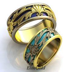 Винтажные обручальные кольца Prado de Flores с узорами и эмалью