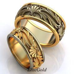 Винтажные обручальные кольца Prado de Flores с узорами и сочетанием фактур