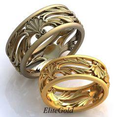 Винтажные обручальные кольца Prado de Flores с узорами и просветами