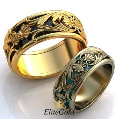 Винтажные обручальные кольца Sol de Verano с рельефными узорами и эмалью по ободку