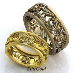 Авторские винтажные обручальные кольца Sol de Verano с узорами и просветами