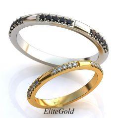 Авторские тонкие обручальные кольца Stay True с камнями по ободку