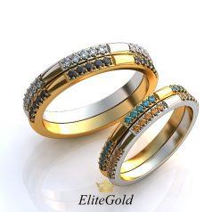 Авторские тонкие обручальные кольца Stay Real с камнями по ободку
