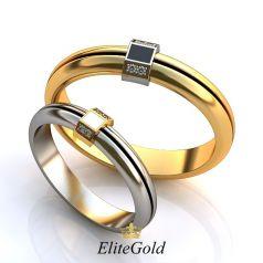 Авторские обручальные кольца Adelante с ювелирной эмалью, необычной формы