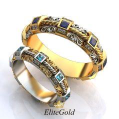 Роскошные обручальные кольца Versalles с узорами и камнями