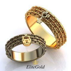 Авторские фантазийные кольца Serratura в виде цепей, замка и ключа