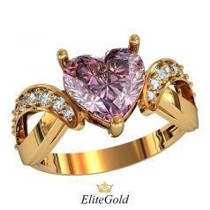 Авторское кольцо Viola с крупным камнем в виде сердца