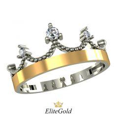 Дизайнерское кольцо-корона Valienta с 3 камнями
