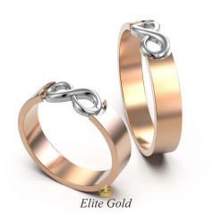 Авторские обручальные кольца Infinite Love II со знаком бесконечности в центре - уменьшенная модель