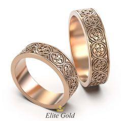 Авторские обручальные кольца с орнаментом Свадебник по ободку