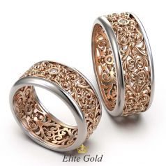 Ажурные обручальные кольца Reia с широкими узорами по кругу
