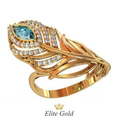 Роскошное кольцо Pavona в виде пера павлина