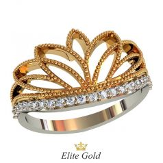Необычное кольцо Miranda с дорожкой камней