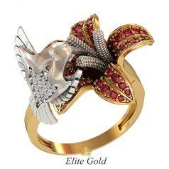Фантазийное кольцо Jardin d'Eden в форме птицы и распустившегося цветка