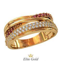 Дизайнерское кольцо Сaprezza с переплетением и дорожками камней