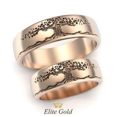 обручальные кольца Дерево Жизни в красном золоте