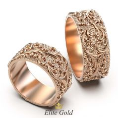Ажурные обручальные кольца Mirage с рельефными узорами на матовой текстуре