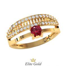 Дизайнерское кольцо Beige с двумя дорожками камней