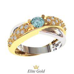 Сдвоенное женское кольцо Leandra с россыпью камней