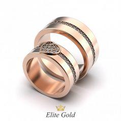 Авторские обручальные кольца Lalita с сердцем и россыпью камней