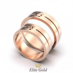 Авторские обручальные кольца Laura с сердцами по центру