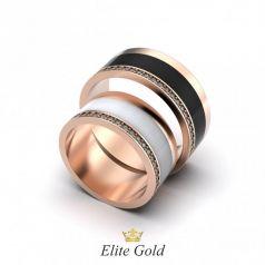 Авторские обручальные кольца Olympia с эмалью и камнями по ободку