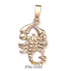 Золотая подвеска Скорпион в красном золоте с реалистичным рельефом