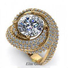 Дизайнерское кольцо Angela с крупным камнем и россыпью камней