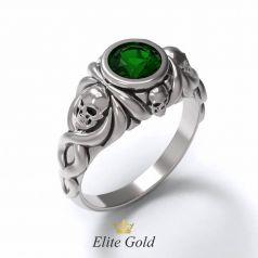 Дизайнерское кольцо Iron skull с крупным камнем