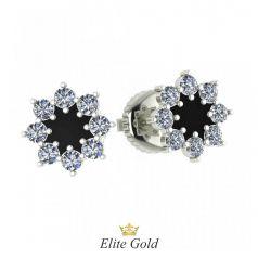 Авторские серьги-пусеты в виде цветка в камнях с эмалью