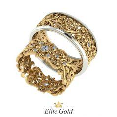 Дизайнерские обручальные кольца Nikol с узорами и камнями