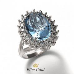 Женское кольцо Carrie с крупным камнем и россыпью камней
