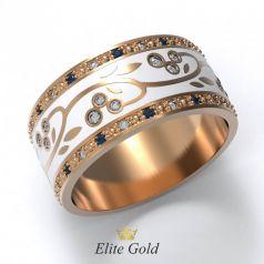 Авторское женское кольцо Annette с эмалью и камнями по ободку
