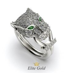 Дизайнерское кольцо Panther в стиле Картье усыпанное камнями
