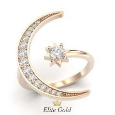 кольцо Selene в виде полумесяца и звезды в красном золоте
