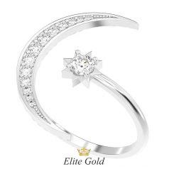 кольцо Selene в виде полумесяца и звезды в белом золоте