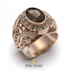 Фантазийное мужское кольцо с крупным камнем и вензелями