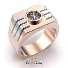 Авторское мужское геометрическое кольцо с камнем по центру