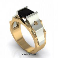 Дизайнерское геометрическое мужское кольцо с камнем