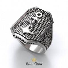 Рельефное мужское кольцо с якорем