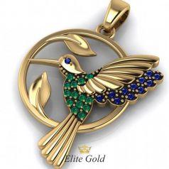 Авторский кулон Bird of paradise в камнях