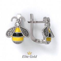Фантазийные серьги-Пчелки с ювелирной эмалью